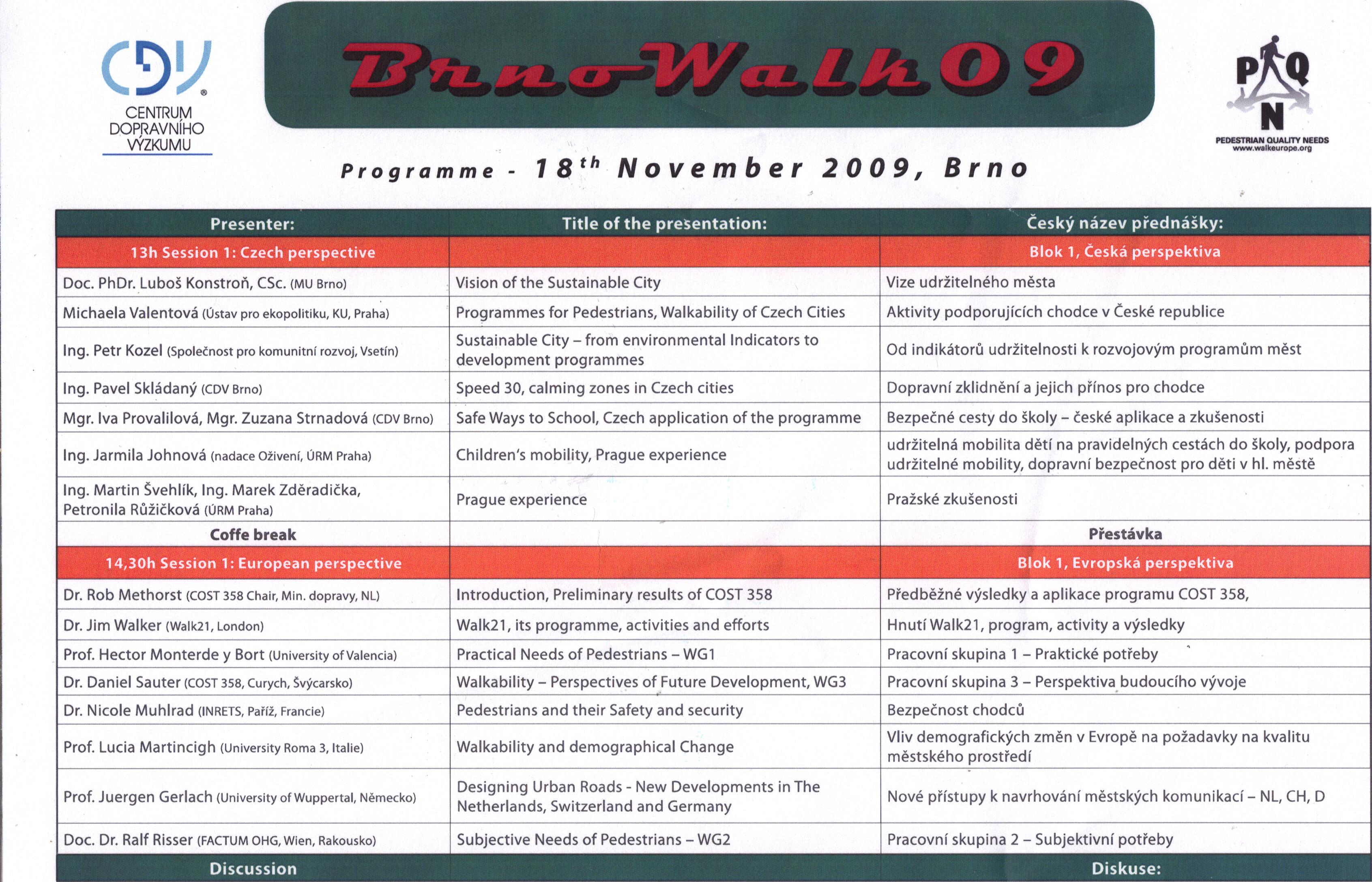 Seminář o pěší dopravě – BrnoWalk 09