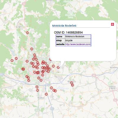 Mapa cykloobchodů a servisů