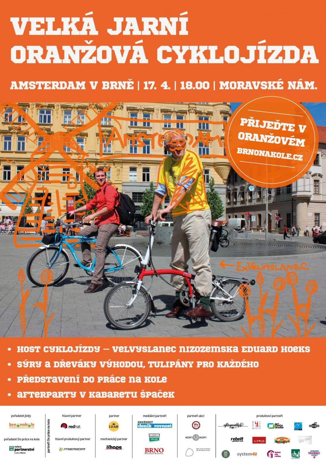Velká jarní oranžová cyklojízda aneb Udělejme z Brna Amsterdam!