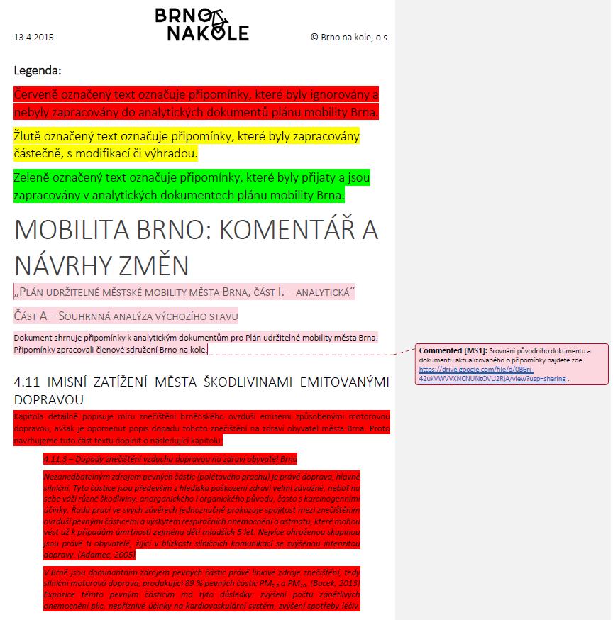 Plán mobility po brněnsku: Potěmkinova vesnice zprodukce Odboru dopravy